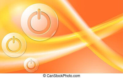 background with abstract rainbow and transparent power button