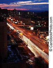 urban street in dusk