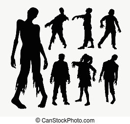 Zombie horror people silhouettes