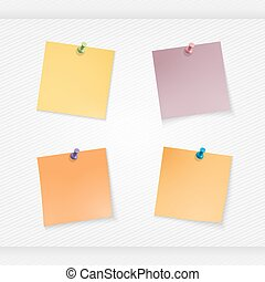 four yellow stationery stickers set - stick note isolated on...