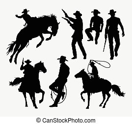 Cowboy activity silhouettes. Good use for symbol, logo, web...