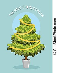 Merry Christmas. MoneyTree. Greeting card with financial...