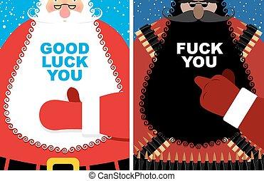 noël, Cartes., bon, Santa, Claus, et,...