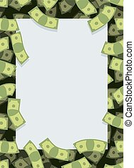 Frame out of money. Many dollars flying. Space for text. Cash green background.