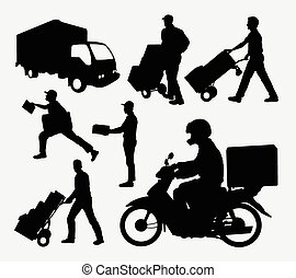Delivery activity silhouettes. Good use for symbol, logo,...