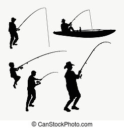 Fishing people silhouettes
