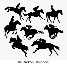 Jockey riding horse silhouettes Good use for symbol, logo,...