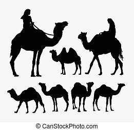 Camel animal silhouettes Good use for symbol, logo, web...