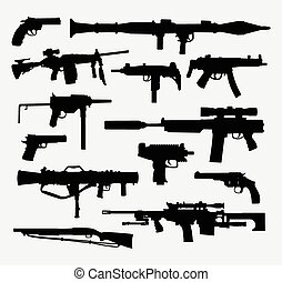 Gun weapon silhouettes. Good use for symbol, web icon, logo,...