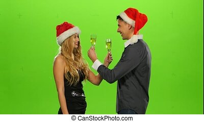 couple: love and smiling, green screen, drink brotherhood