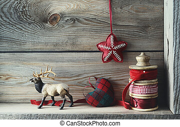 Christmas decorations on wood shelf