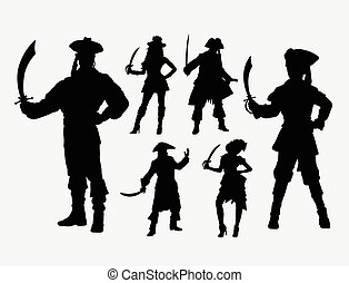 Pirates male and female silhouette. Good use for symbol, web...