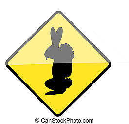 Easter bunny warning sign - Vector illustration of a warning...