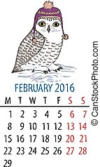 February owl calendar Cartoon snowy owl in purple hat on...