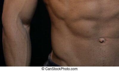 Close up of a beautiful ABS and chest muscles male. Muscular...