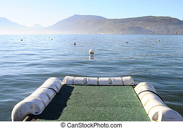 Annecy lake in France - Landscape of Annecy lake and boat...