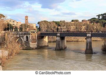 Rome by the Tiber - Historic cityscape along the Tiber in...