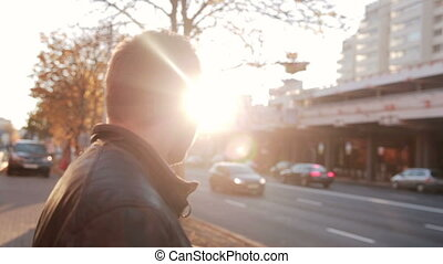 young man on the street on the Sunset