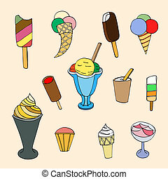 cartoon ice cream - Collection of cute hand drawn cartoon...