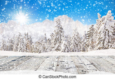 Abstract Christmas background with falling snow flakes and...
