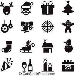 Silhoette Christmas icons set