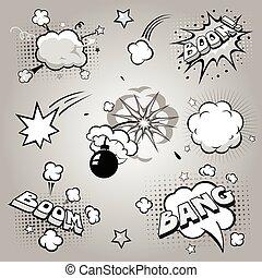 Set of comics boom, vector illustration - Set of comics boom...