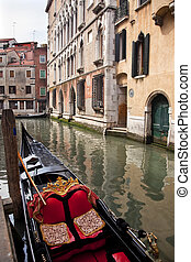 Small Side Canal Bridge Gondola Venice Italy