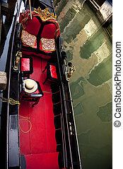 Small Side Canal Gondola Close Up Venice Italy