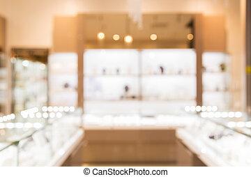 jewelry store blurred background - sale, consumerism,...