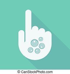 Long shadow pointing finger hand with oocytes - Illustration...