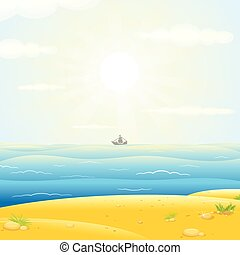 Sailboats Silhouette with Sunny Sea Background. Vector Image