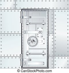 Closed Bank Vault Door. Vector Illustration - Closed Bank...