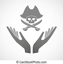 Two vector hands offering a pirate skull
