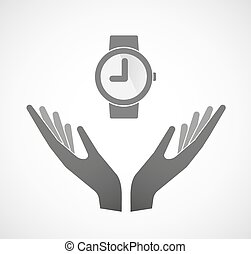 Two vector hands offering a wrist watch - Illustration of...