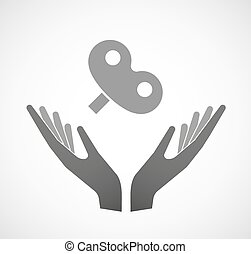 Two vector hands offering a toy crank - Illustration of two...