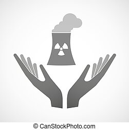 Two vector hands offering a nuclear power station -...