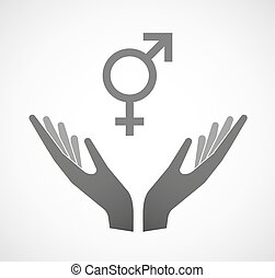 Two vector hands offering a transgender symbol -...