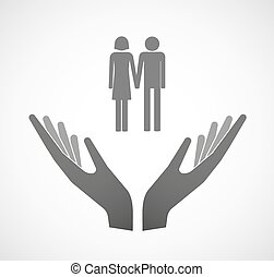 Two vector hands offering a heterosexual couple pictogram -...