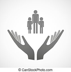 Two vector hands offering a male single parent family pictogram