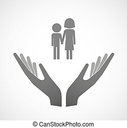 Two vector hands offering a childhood pictogram -...