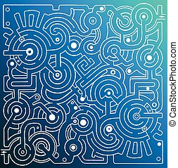 Vector maze on blue background - Mechanical vector maze on...