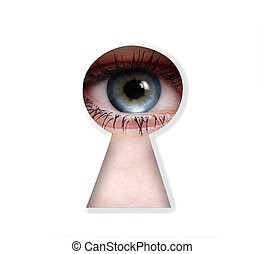 peeper eye to the keyhole isolated on white background