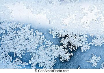 rime, résumé, hiver, fond, glace