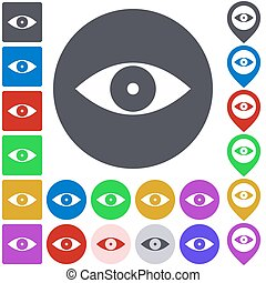 Color eye icon set. Square, circle and pin versions.