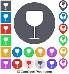 Color wine glass icon set. Square, circle and pin versions.