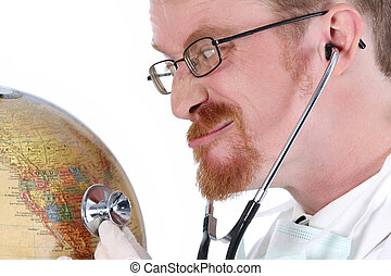 funny doctor examine a globe - details funny doctor examine...