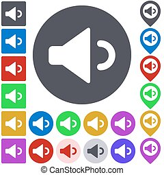 Color volume down icon set Square, circle and pin versions