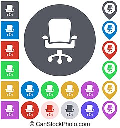 Color swivel chair icon set Square, circle and pin versions...