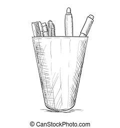 Hand drawn sketch pencil case - Hand drawn sketch pencil...