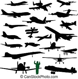 Twenty Airplanes - Collection of twenty silhouettes of...